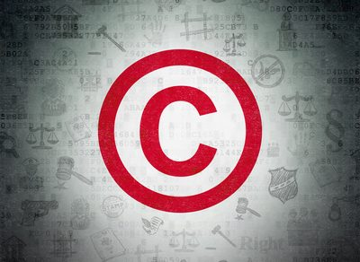 Law concept: Painted red Copyright icon on Digital Paper background with  Hand Drawn Law Icons